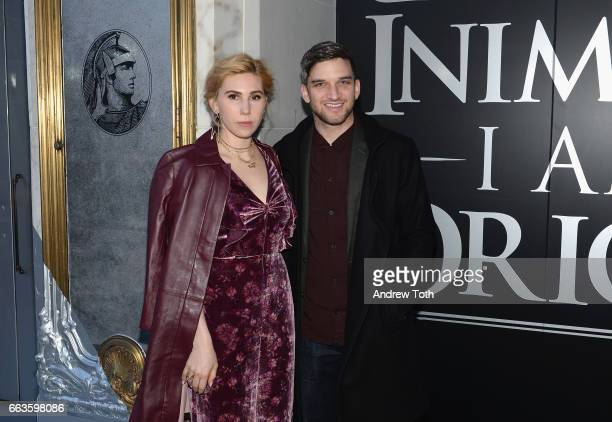Actress Zosia Mamet and husband Evan Jonigkeit attend the American Express Celebrates The New Platinum Card With Hamilton Takeover Experience on...