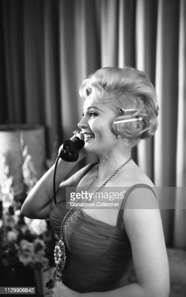Actress Zsa Zsa Gabor on the set of the movie 'Queen of Outer Space' in 1958