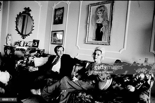 Actress Zsa Zsa Gabor with her husband Jack Ryan at home in Bel Air in Los Angeles California 1975
