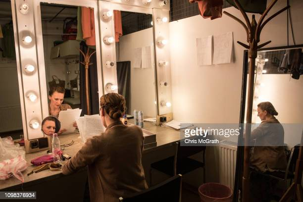 Actress Zsofia Szamosi prepares ahead of her evenings performance in the play Pali at the Jozsef Katona Theatre on January 18 in Budapest Hungary The...