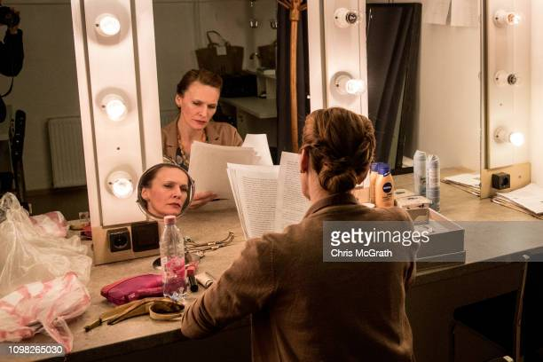 Actress Zsofia Szamosi prepares backstage ahead of her evenings performance in the play Pali at the Jozsef Katona Theatre on January 18 in Budapest...