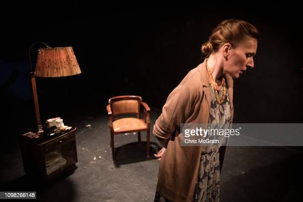 Actress Zsofia Szamosi rehearses ahead of her evenings performance in the play Pali at the Jozsef Katona Theatre on January 18 in Budapest Hungary...