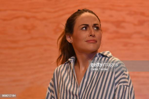 Actress Zuria Vega performs a scene on stage of the theater play 'Straight' during a Press Performance at Milan Theatre on May 11 2018 in Mexico City...