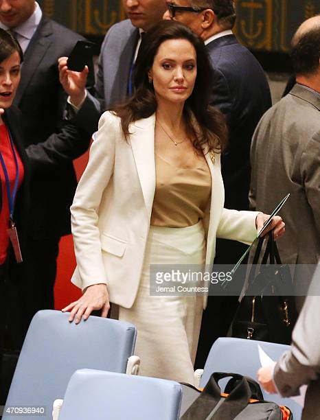 Actress/activist Angelina Jolie arrives at a United Nations Security Council Meeting on the situation in the Middle East and Syria at United Nations...