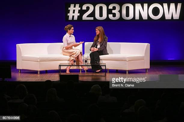 Actress/activist Sophia Bush and the United States Ambassador to the United Nations Samantha Power speak on stage during the 2016 Social Good Summit...