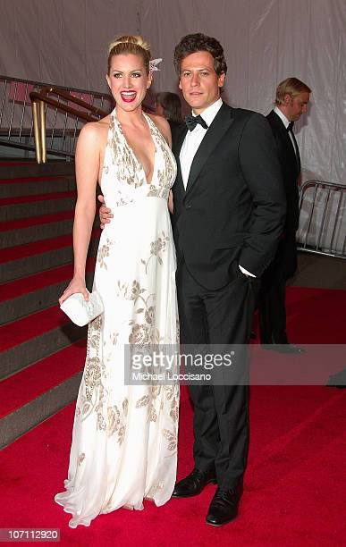 ActressAlice Evans and actor Ioan Gruffudd depart from the Metropolitan Museum of Art Costume Institute Gala 'Superheroes Fashion And Fantasy' at the...