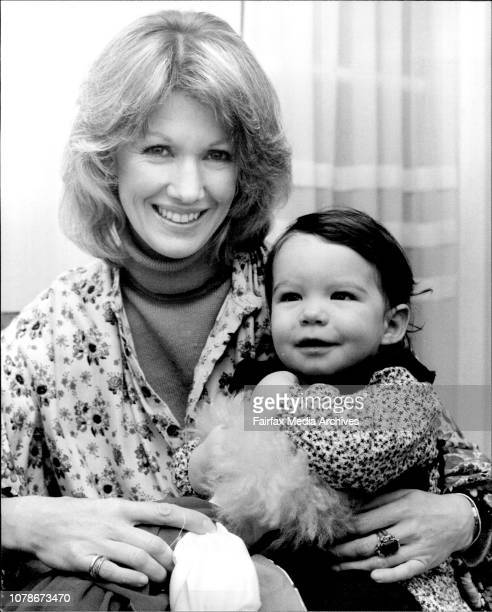 ActressAnnette Andre and her 12 month old Daughter Anouska with her doll 'Di Diz' June 20 1980