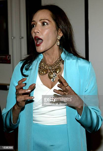 "Actress/artist Barbara Carrera attends the museum premiere of her paintings of""Hollywood Legends"" May 2, 2002 in Los Angeles, CA. The exhibition will..."