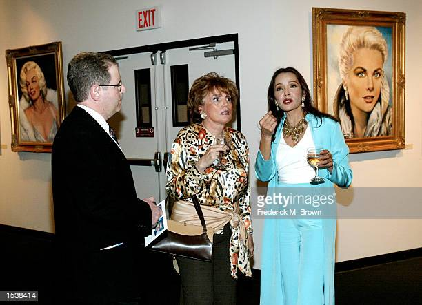 "Actress/artist Barbara Carrera, Phyllis Mariani and Dr. Sanford Weissbuch attend the museum premiere of Ms. Carrera's paintings of ""Hollywood..."