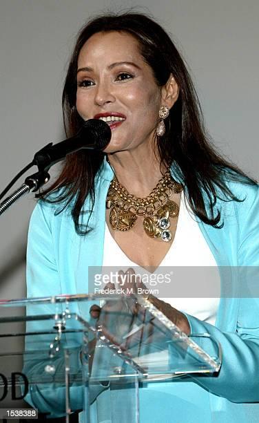"Actress/artist Barbara Carrera speaks at the museum premiere of her paintings of""Hollywood Legends"" May 2, 2002 in Los Angeles, CA. The exhibition..."