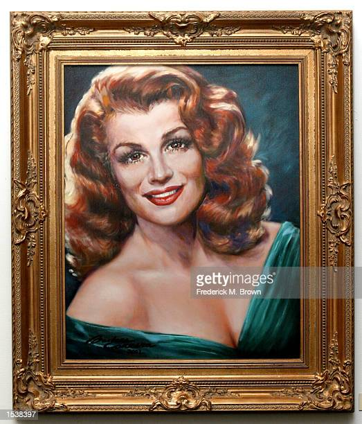 Actress/artist Barbara Carrera's painting of actress Rita Hayworth at the museum premiere of Ms Carrera's paintings ofHollywood Legends May 2 2002 in...