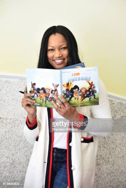 Actress/Author Garcelle Beauvais displays her book 'I Am Awesome' at her book reading at WeVillage Flexible Childcare Center on February 3 2018 in...