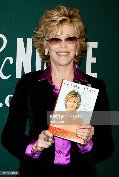 """Actress/author Jane Fonda signs copies of her new book """"Prime Time: Love; Health; Sex; Fitness; Friendship; Spirit;"""" at Barnes & Noble bookstore at..."""