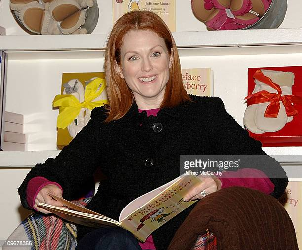 Actressauthor Julianne Moore at a private reading of her new children's book 'Freckleface Strawberry' on November 14 2007 at the J Crew Store in SoHo...