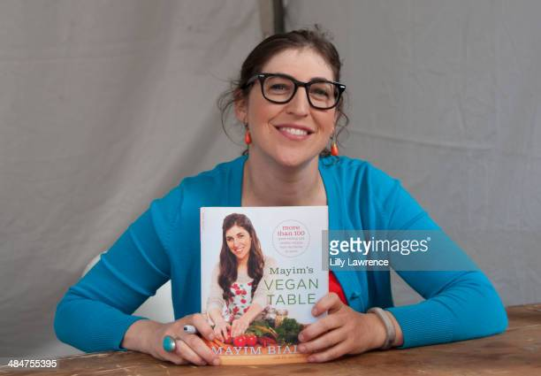 Actress/Author Mayim Bialik signs her book at the 19th Annual Los Angeles Times Festival Of Books Day 2 at USC on April 13 2014 in Los Angeles...