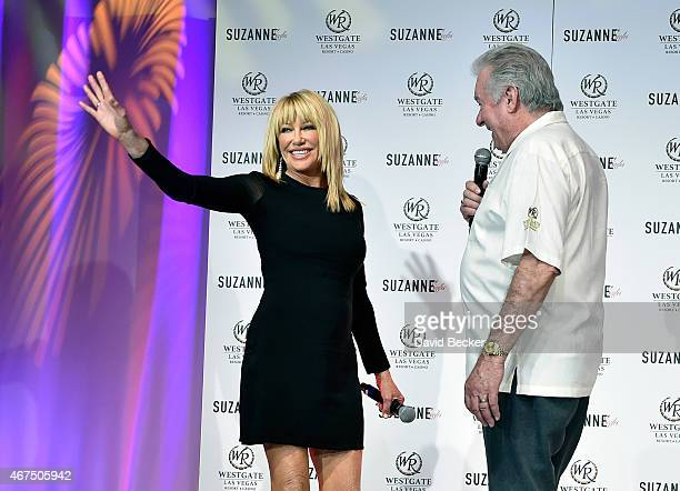 Actress/author Suzanne Somers and founder and CEO of Westgate Resorts David Siegel appear at a news conference announcing her residency Suzanne...