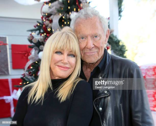 Actress/author Suzanne Somers and husband producer Alan Hamel visit Hallmark's Home Family at Universal Studios Hollywood on December 15 2017 in...