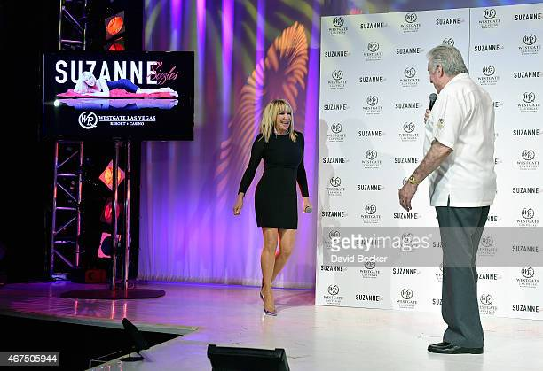 Actress/author Suzanne Somers walks on stage after being introduced by founder and CEO of Westgate Resorts David Siegel at a news conference...