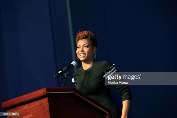 Actress/author Taraji P Henson speaks during the Women's Empowerment Expo at Cobo Center on August 26 2017 in Detroit Michigan