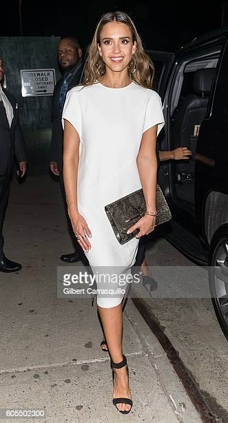Actress/businesswoman Jessica Alba is seen leaving Narciso Rodriguez show during New York Fashion Week 2016 at SIR Stage 37 on September 13 2016 in...