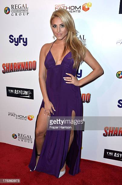 ActressCassie Scerbo arrives at Fathom Events Presents The Premiere Of The Asylum And Syfy's Sharknado at Regal Cinemas LA Live on August 2 2013 in...