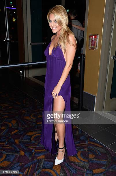 """ActressCassie Scerbo arrives at Fathom Events Presents The Premiere Of The Asylum And Syfy's """"Sharknado"""" at Regal Cinemas L.A. Live on August 2, 2013..."""