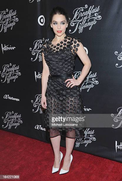 Actress/cast member Emilia Clarke attends the Breakfast At Tiffany's Broadway Opening Night after party at The Edison Ballroom on March 20 2013 in...