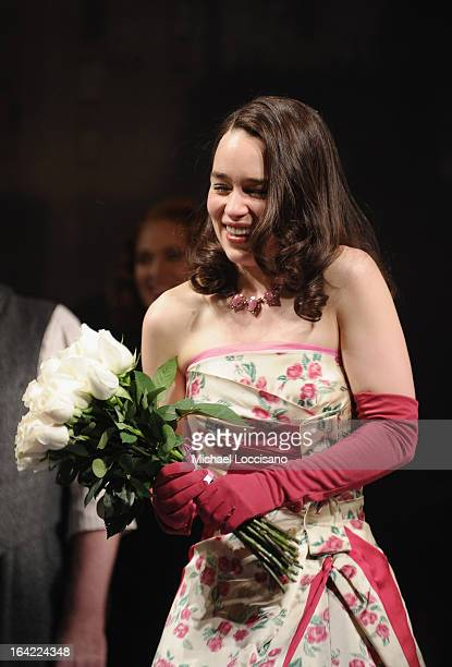 Actress/cast member Emilia Clarke takes part in the 'Breakfast At Tiffany's' Broadway Opening Night at Cort Theatre on March 20 2013 in New York City