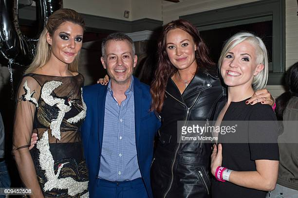 Actress/comedian Grace Helbig, producer Michael Goldfine, actress/ comedian Mamrie Hart, and actress/comedian Hannah Hart attend the after party for...