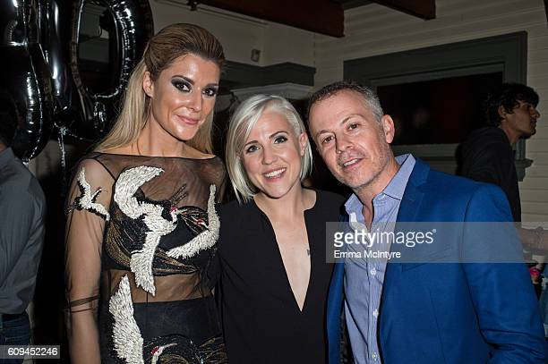 Actress/comedian Grace Helbig, producer Michael Goldfine, and actress/comedian Hannah Hart attend the after party for the premiere of Lionsgate's...