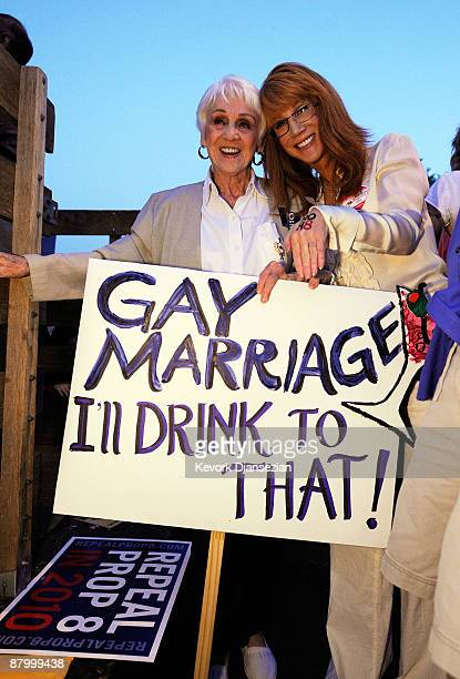 Actress/comedian Kathy Griffin and her mother Maggie Griffin attend a rally following the California Supreme Court's ruling to uphold Proposition 8...