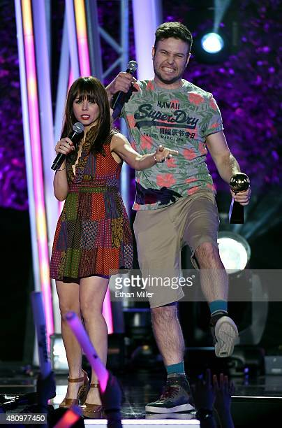 Actress/comedian Natasha Leggero and actor Taran Killam present the award for Feels Freak Out of the Year during the MTV Fandom Fest San Diego...