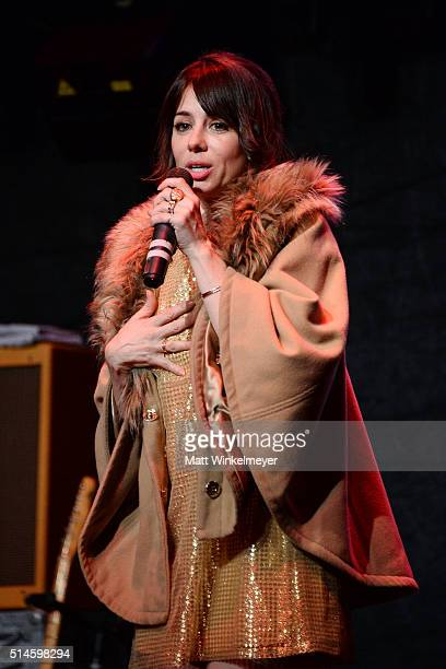 Actress/comedian Natasha Leggero speaks onstage during the California Fire Foundation 2016 Gala at Avalon Hollywood on March 9 2016 in Los Angeles...