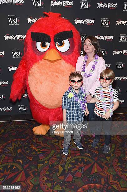 Actress/comedian Rachel Dratch with son Eli Benjamin Wahl and friend attend The Angry Birds Movie New York screening at Regal Union Square on May 15...