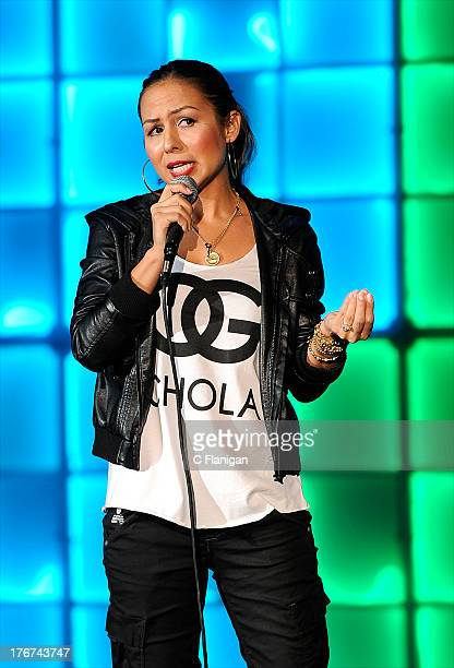 Actress/Comedienne Anjelah Johnson performs during the Wild 949 Annual Comedy Jam at Shoreline Amphitheatre on August 17 2013 in Mountain View...