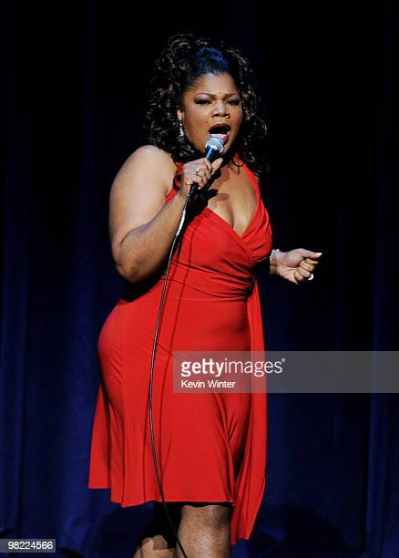 Actress/comedienne Mo'Nique performs during her 'Spread The Love' comedy tour at the Nokia Theater on April 2 2010 in Los Angeles California