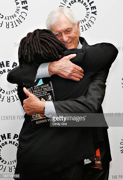 Actress/comedienne Whoopi Goldberg embraces television host Sonny Fox as they attend Sonny Fox Forty Years In Television A Conversation With Whoopi...