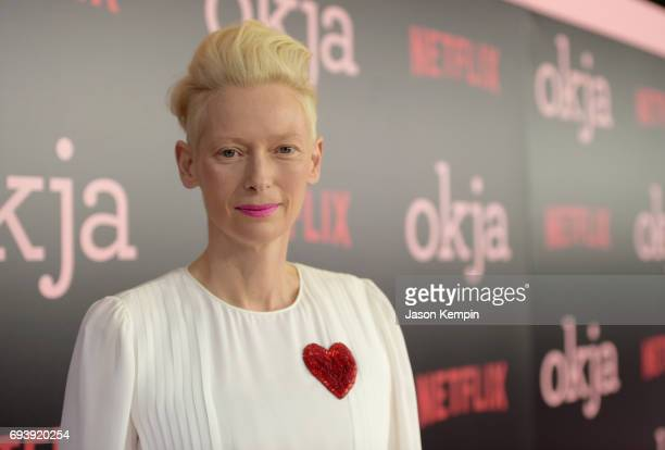 Actress/CoProduer Tilda Swinton attends Okja New York Premiere at AMC Loews Lincoln Square 13 on June 8 2017 in New York City