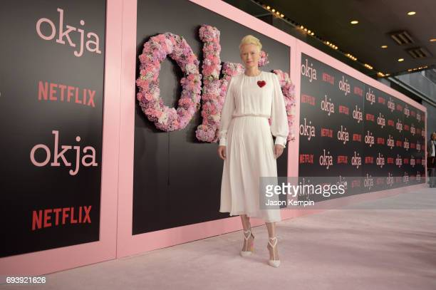Actress/CoProduer Tilda Swinton attends 'Okja' New York Premiere at AMC Loews Lincoln Square 13 on June 8 2017 in New York City
