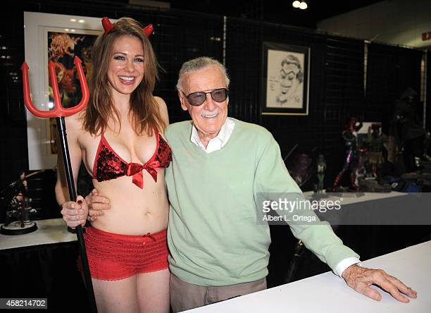 Actress/cosplayer Maitland Ward and Comic Book Icon Stan Lee attend Day 1 of the Third Annual Stan Lee's Comikaze Expo held at Los Angeles Convention...