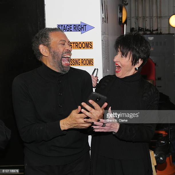 Actress/dancer Chita Rivera seen backstage with Maurice Hines following his performance in 'Tappin Thru Life' at New World Stages on February 13 2016...