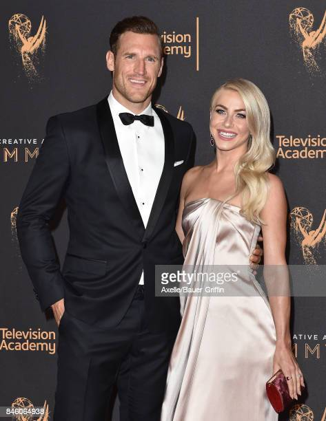 Actress/dancer Julianne Hough and ice hockey player Brooks Laich arrive at the 2017 Creative Arts Emmy Awards at Microsoft Theater on September 9...