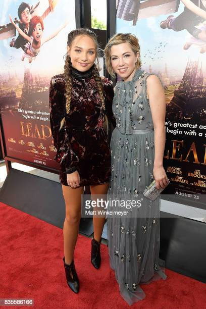 Actress/dancer Maddie Ziegler and actress/singer Carly Rae Jepsen attend the Weinstein Company's 'LEAP' at The Grove on August 19 2017 in Los Angeles...