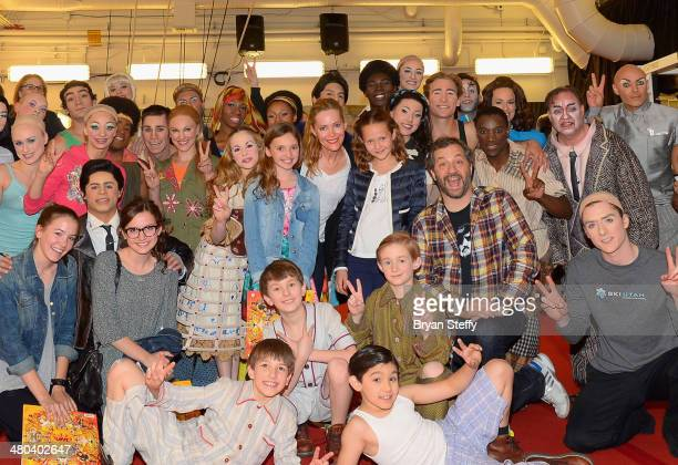Actress/daughter Maude Apatow actress Leslie Mann actress/daughter Iris Apatow and writer/producer Judd Apatow meet with performers from The Beatles...
