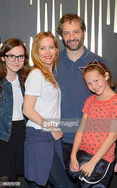 Actress/daughter Maude Apatow actress Leslie Mann writer/producer Judd Apatow and actress/daughter Iris Apatow attend Michael Jackson ONE by Cirque...