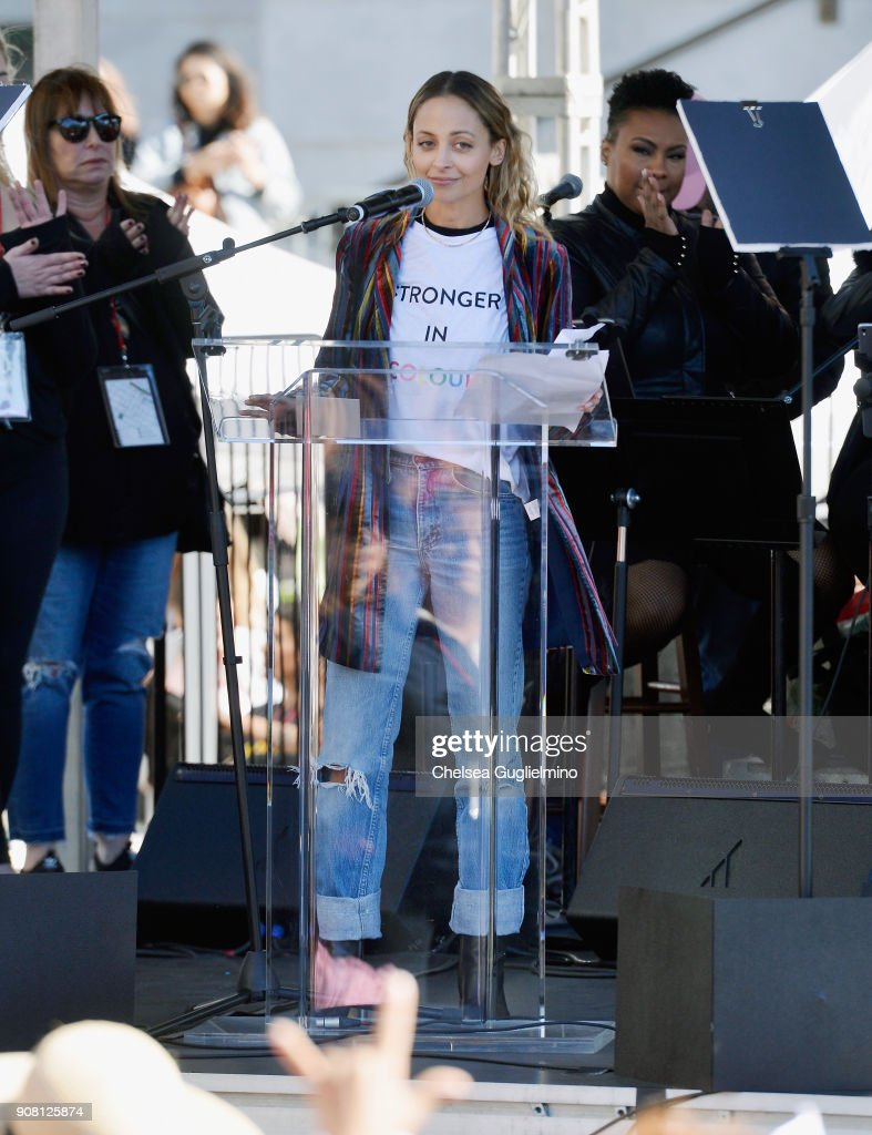 Actress/designer Nicole Richie speaks during the Women's March Los Angeles 2018 on January 20, 2018 in Los Angeles, California.