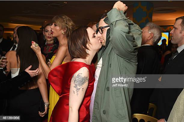 Actress/director Lena Dunham and musician Jack Antonoff attend HBO's Official Golden Globe Awards After Party at The Beverly Hilton Hotel on January...