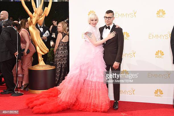 Actress/director Lena Dunham and musician Jack Antonoff attend the 66th Annual Primetime Emmy Awards held at Nokia Theatre L.A. Live on August 25,...