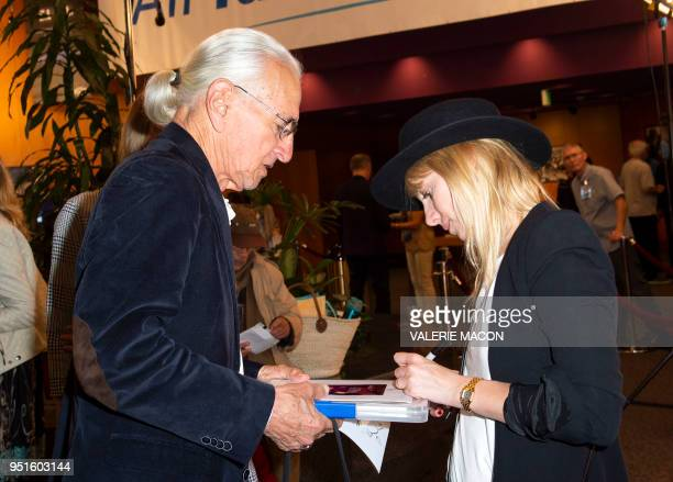 Actress/director Melanie Laurent signs autographs during the Colcoa French Film Festival Day 4 at the Directors Guild of America on April 26 2018 in...