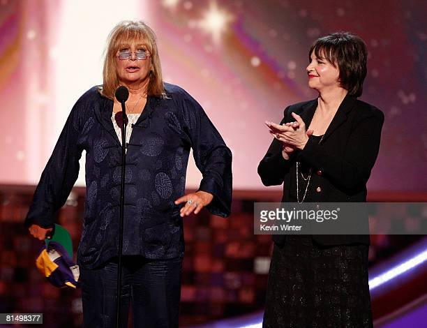Actress/director Penny Marshall and actress Cindy Williams speak onstage during the 6th annual TV Land Awards held at Barker Hangar on June 8 2008 in...